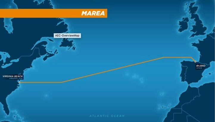 The route of a proposed undersea cable being financed