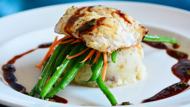 Fresh Grouper, mashed potatoes and vegetables, courtesy of The Grand Marlin.