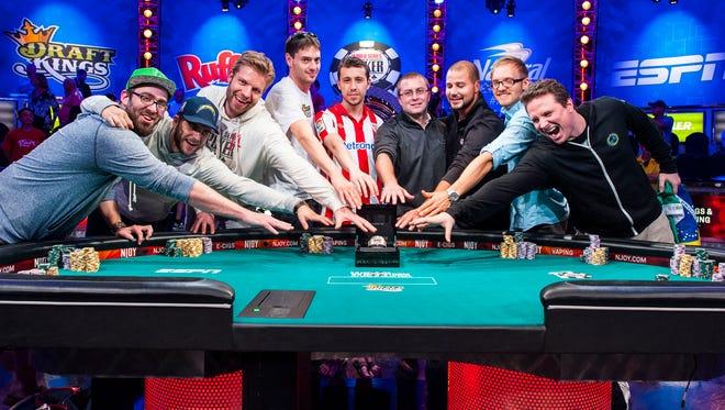 The 2014 World Series of Poker November Nine. L to R: Billy Pappaconstantinou, Felix Stephensen, Jorryt van Hoof, Mark Newhouse, Andoni Larrabe, William Tonking, Daniel Sindelar, Martin Jacobson, Bruno Politano.