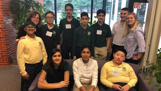 Members of the Middle School Math & Science Club at The Wardlaw+Hartridge School in Edison.