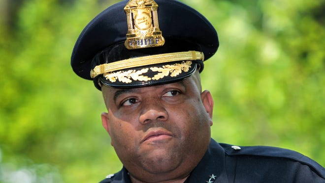 Indianapolis Metropolitan Police department Chief Rick Hite was chosen by U.S. Rep. Susan Brooks to be her guest at President Barack Obama's State of the Union address. Here Hite is shown making comments on May 15, 2013, at McCord Park in the 600 block of East 36th Street in Indianapolis, as the first of five street markers (to be placed around town) honoring fallen police officers were unveiled.