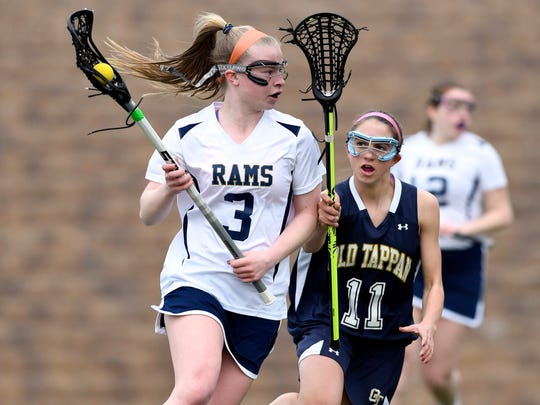 Ramsey attacker Rhiannon Brown (3). Ramsey girls lacrosse defeated NV/Old Tappan 18-5 in Ramsey, NJ on Thursday, March 30, 2017.