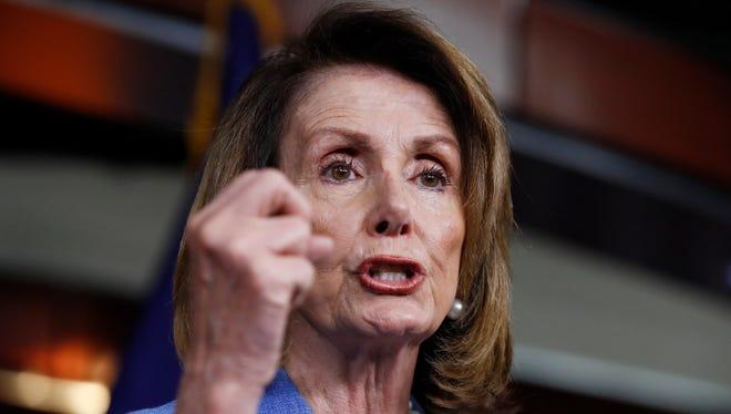 Nancy Pelosi at a Capitol Hill press conference.