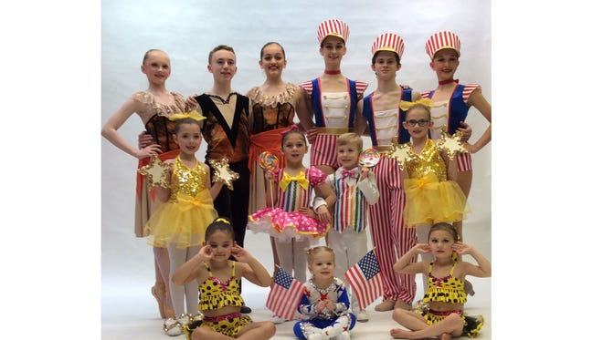 "Dancers from Maxine's Studio of Dance including, (back row, from left) Lindsey Wettstein, Adam Anthony, Carly Cullinane, Alexandra Bisignaro, Trey Luciano and Nicole Cullis; (middle row, from left) Melody Castellini, Natalia Scapalato, Owen Miller and Isabella Scapalato; and (seated, from left) Zoey Castro, Alicia Miller and Emma Scapalato, are ready to perform in the annual recital, ""Dancing with the Stars."""