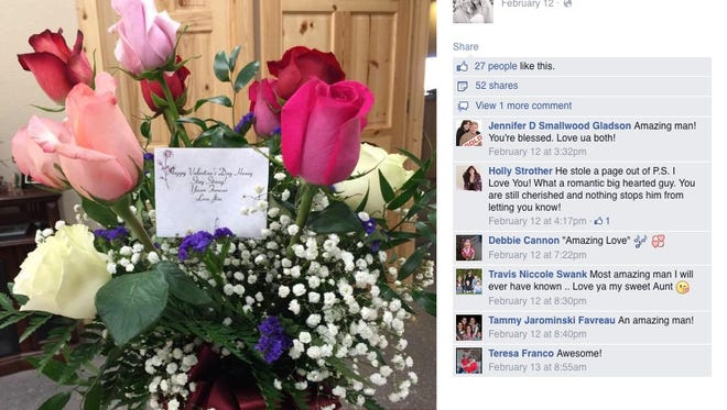 These are the flowers Shelly Golay posted on Facebook, from her husband who died in July.
