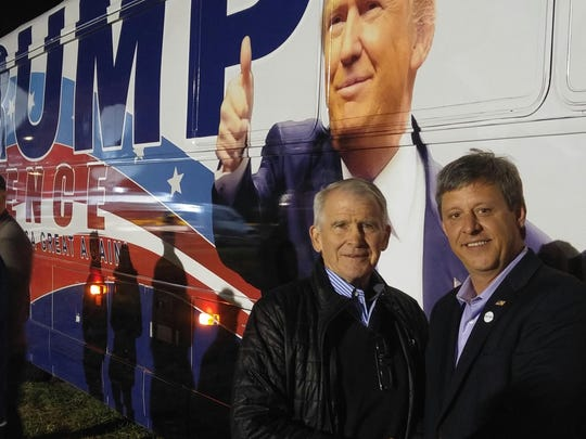 Metro Councilman Robert Swope, right, with Oliver North in Leesburg, Virginia during the 2016 presidential campaign.