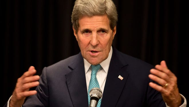 U.S. Secretary of State John Kerry speaks to the media at a press conference held at a hotel in Nairobi, Kenya, Monday, May 4, 2015.