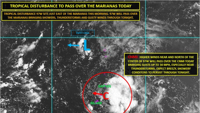 A developing tropical disturbance will bring scattered showers, isolated thunderstorms, occasional heavy rain and gusty winds Sunday and Sunday night, according to a press release by Guam Homeland Security/Office of Civil Defense spokeswoman Jenna Gaminde.