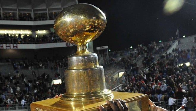 The Golden Egg is the valued trophy in the series between Ole Miss and Mississippi State.