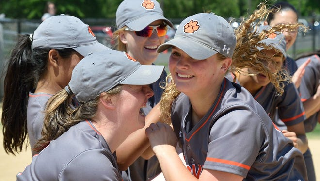 Eva Eder, right, had a strong game in the circle as Dumont tops Becton as part of the Donna Ricker Memorial softball tournament on Saturday, April, 14, 2018.