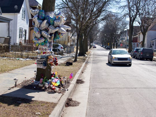 A memorial to Demetrius A. Eason. He was shot to death in June 2017, a block from the Keys' home.