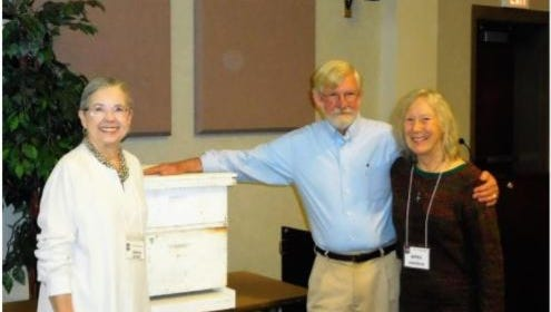 From left, Garden Trail Garden Club President Brenda Oehmig; guest speaker David DeHoll; and April Swanson, club vice president