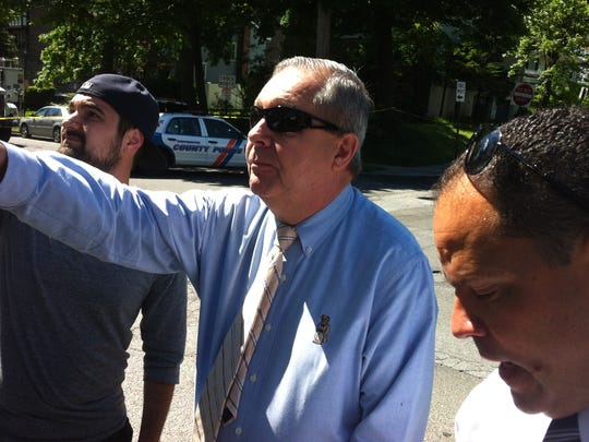 Mount Vernon Deputy Police Commissioner Richard Burke at the scene of the June 6, 2014, manhunt for Leroi Bouche, suspected of hitting a Yonkers police detective with a car.