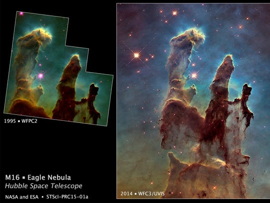 A comparison of the 1995 image, left, and the recently