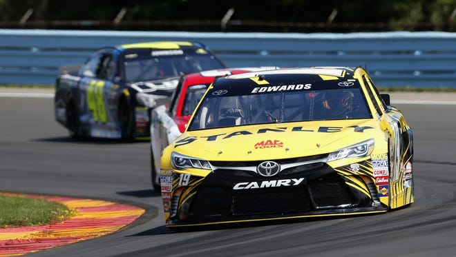 Carl Edwards drives the No. 19 Stanley Toyota during qualifying for the Cheez-It 355 at The Glen on Saturday at Watkins Glen International.