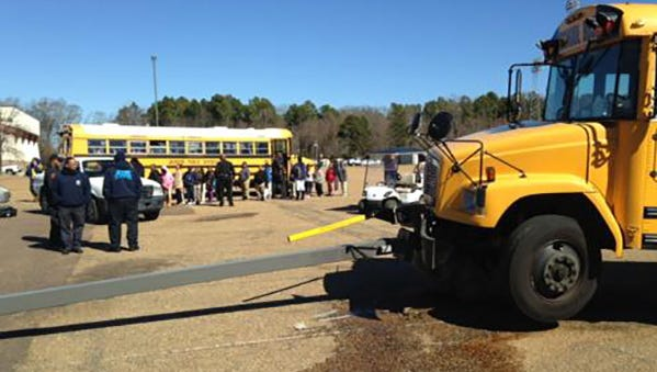 A Jackson Public School District bus crashed into a pole Wednesday while on a field trip.