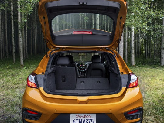 The 2017 Chevrolet Cruze Hatchback offers 47.2 cubic feet of rear cargo room with the back seats flipped down.