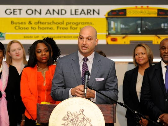 DPSCD Superintendent Dr. Nikolai Vitti addresses the media as he talks about the launch of the Northwest Detroit bus loop program, Monday, June 11, 2018, at the Northwest Activities Center in Detroit.