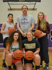 Athens girls basketball Coach Calvin Quist has his team in the state quarterfinals for a sixth time, led by, from left in back, Jaiden Hurst and Jillayne Wheeler and, in front, Corra Hamilton and Rachael Beal.