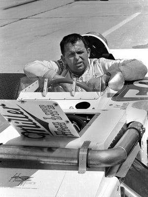 Jim Hurtubise shown in the cockpit of his #56 Miller High Life Special on pit lane in Indy May 20, 1971. Hurtubise did not qualify for the 1971 race.