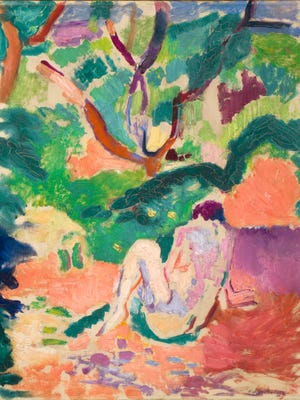 """Henri Matisse, """"Nude in a Wood,"""" 1906, oil on board mounted on panel."""