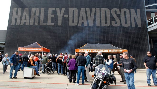Harley-Davidson shareholders attend a block party following the shareholders meeting Thursday at the Harley-Davidson Museum, 400 W. Canal St.