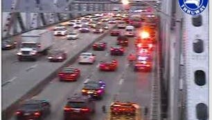 An accident blocks the right lane on the northbound Tappan Zee Bridge, Tuesday, Dec. 8, 2015, as seen in this state Thruway Authority traffic camera image.