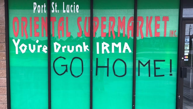 The Oriental Supermarket at 8707 Walton Road made their feelings known Sunday, Sept. 10, 2017, to the public with a sign painted in their window.