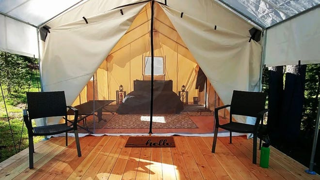 The tents Outlivin' uses are set up on moveable blocks that can be easily moved at the end of the camping season.