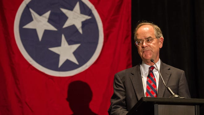 U.S. Rep. Jim Cooper, D-Nashville, announces his victory during the Democratic watch party Tuesday, Nov. 8, 2016, at the Loews Vanderbilt Hotel in Nashville.