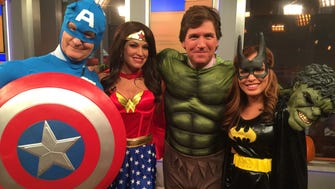 """""""Fox & Friends"""" co-hosts transformed into """"The Fantastic 'Friends"""" - Steve Doocy as Captain America, Kimberly Guilfoyle as Wonder Woman, Tucker Carlson as The Incredible Hulk and Maria Molina as Bat Girl."""