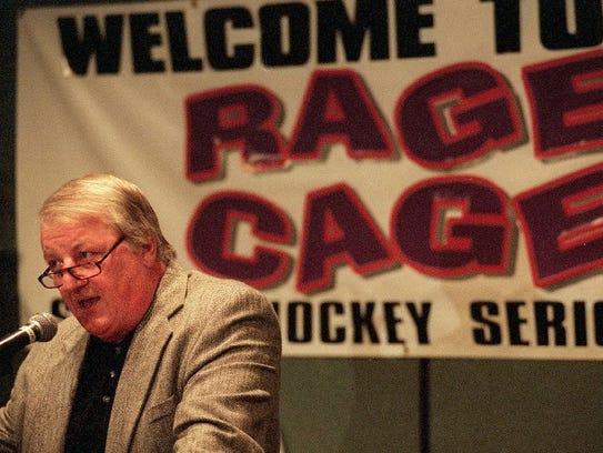 Reno Rage coach Pete Stemkowski speaks to the media