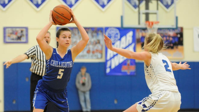 Chillicothe's Julia Hall looks for an open teammate during Wednesday's loss to Washington at Washington Court House High School. Hall led the Cavaliers with 12 points on four 3-point field goals.