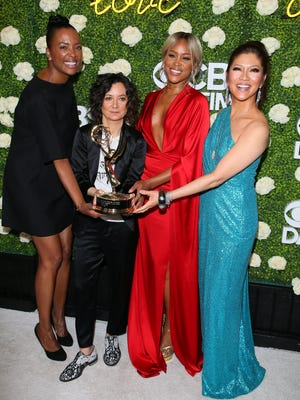 Aisha Tyler, left, Sara Gilbert, Eve and Julie Chen show off their entertainment talk show Daytime Emmy Sunday. It was their second time winning a category that has long been dominated by 'The Ellen DeGeneres Show.'