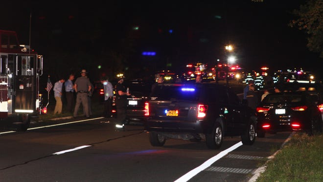 The scene of the car crash on the Palisades Interstate Parkway in which Justin Goings was killed.