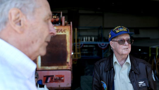 Retired B-17 pilots Stanton Rickey, right, and Jim