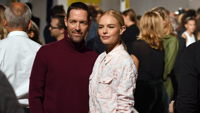Actress Kate Bosworth and her husband Michael Polish attend the Calvin Klein Collection fashion show on Sept. 7, 2017 in New York.