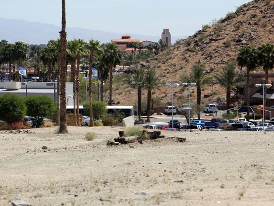 View of Volkswagen Palm Springs from the site of a