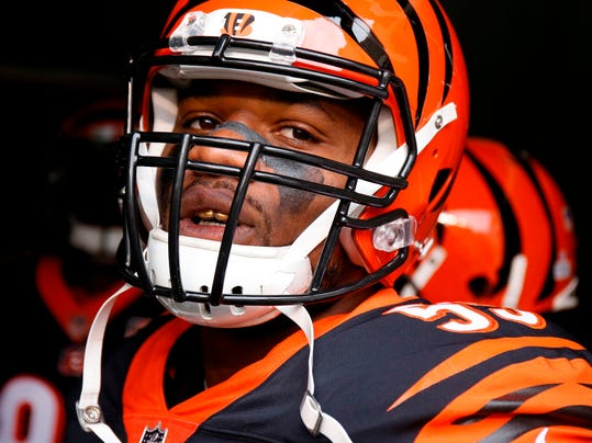 FILE - In this Oct. 29, 2017, file photo, Cincinnati Bengals outside linebacker Vontaze Burfict prepares to take the field before an NFL football game against the Indianapolis Colts in Cincinnati. Burfict will be sidelined to start a season for the fourth year in a row, this time serving a four-game suspension for violating the NFL's policy on performance-enhancing substances. The league rejected his appeal without comment and upheld the full suspension on Thursday, Aoril 12, 2018.  (AP Photo/Gary Landers, File)