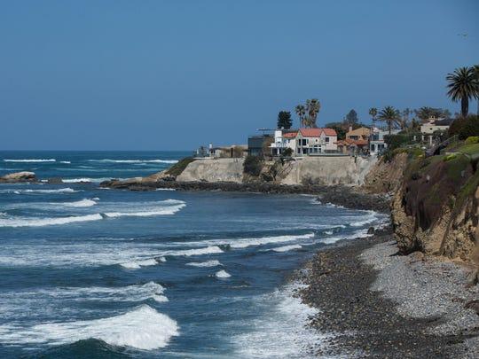 Waves break against the shore in La Jolla, California on Fri. March 31st, 2017.