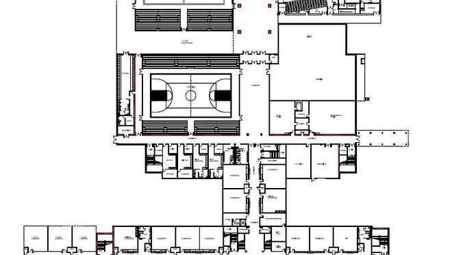 The latest proposed Burns middle school design shows, top left, an extra gym, top right, a theater; and, bottom left, the potential extra, two-story classroom space to allow for a high school to be added later.