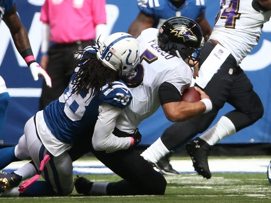 Colts safety Sergio Brown had three tackles and a critical sack of Ravens quarteraback Joe Flacco on a fourth down in the second quarter.