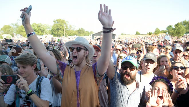 Music fans cheer as Kacey Musgraves performs at the Pilgrimage Music & Cultural Festival in Franklin.
