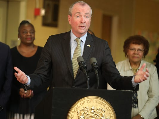 Governor Phil Murphy gives a press conference as he talks about the budget impasse.