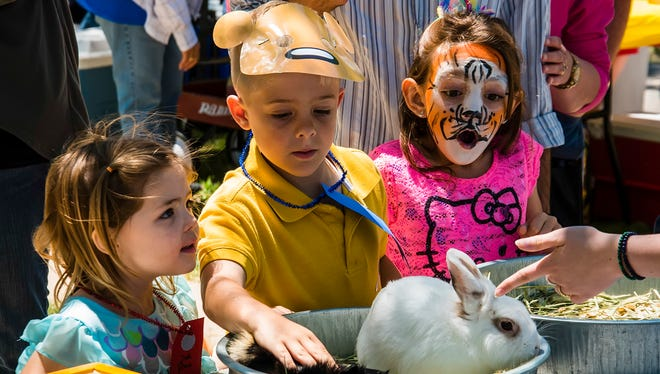 (left to right) Anna Stroh, 3, Jaydon Stroh, 6, and tiger-faced McKenna Isenhour, 7, pet some rabbits during the 27th annual Healthy Families San Angelo's Children's Fair Sunday, April 23.