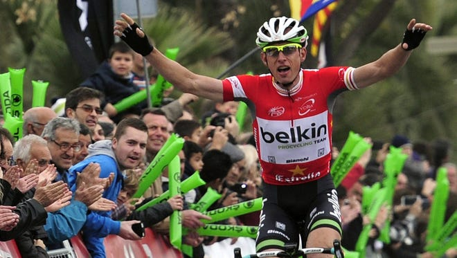 Belgian cyclist Stef Clement of the Belkin team celebrates after winning the sixth stage of the Volta Ciclista a Catalunya cycling race in Catalonia.