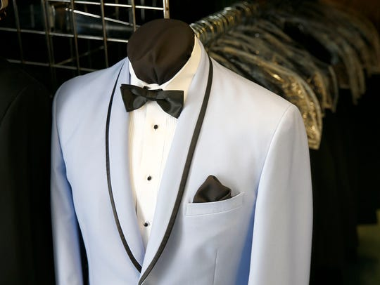 A selection of colors and styles are available at Tuxedo