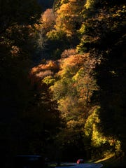 Fall colors start to appear along U.S. Highway 441 through the Great Smoky Mountains National Park near Chimney Tops trail Monday, Oct. 19, 2015.