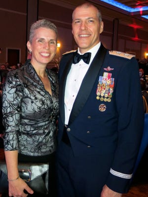 Barbara Bussiere and hubby, Maj. Gen. Thomas Bussiere, head of  8th  Air  Force, at Anniversary Gala.