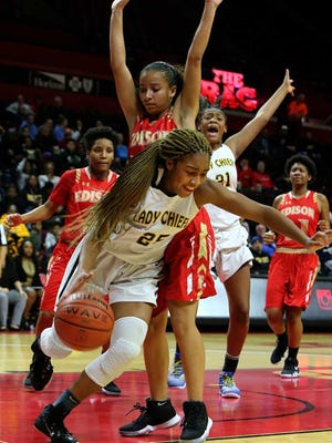 Piscataway's Yamirah Bennett drives along the baseline in the GMCT girls basketball final at the RAC on Thursday night.